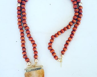 Boho bone necklace