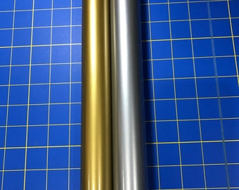 Vinyl for Cricut, Silhouette, Oracal 651 permanent Metallic Craft vinyl, 2 5ft X 12 rolls, 1 Gold, 1 Silver, Free Shipping