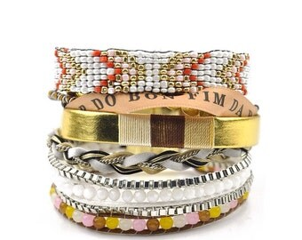 Bahia Beach - 8 Strand Stack Bracelet - finished with magnetic clasp