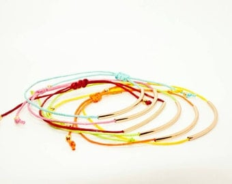 Multicoloured Wax Cord and Gold Tube Bracelets