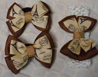 "kanzashi bows ""Paris"" from grosgrain fabric."