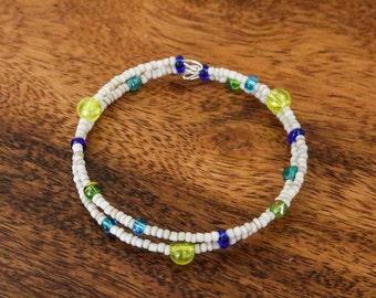 Delicate beaded memory wire bracelet
