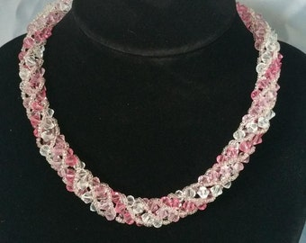 Swarovski Crystals with Pink Czech Seed Beads