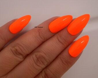 Neon orange stiletto nails, Nail designs, Nail art, Nails, Stiletto nails, Acrylic nails, Pointy nails, Fake nails, False nails