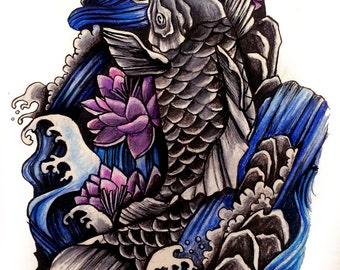 Koi Fish and Waterfall with Lotus - tattoo design