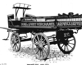 Pen & Ink Drawing, A4 - Brewers' Dray