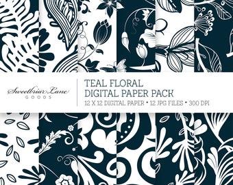 Teal Digital Scrapbook Paper for Instant Digital Download