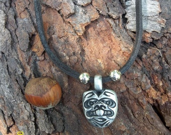 Mystery in the Mask, Pewter and Leather Necklace