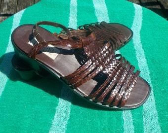 Ladies Enzo Angiolini Brown Leather Sandals, Size 8 1/2 Medium