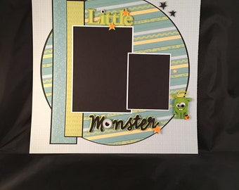 Premade Scrapbook Page 12x12 Little Monster