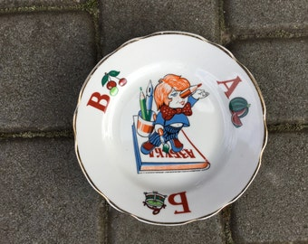 Vintage Plate Soviet Kids Porcelain with ABC Ornament Made in USSR in 80s