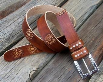 Womens leather belt, Hippie leather belt, Gipsy leather belt, Real cow belt
