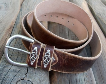 Mens jeans leather belt, Buffalo leather belt, Distressed dark brown leather belt, Handmade leather belt, Infinity leather belt