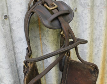 Vintage Horse Headstall Harness Bridle Blinders Leather Tack Cowboy Western Farm Wall Art Decor