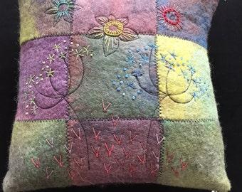 hand made wet felt cushion