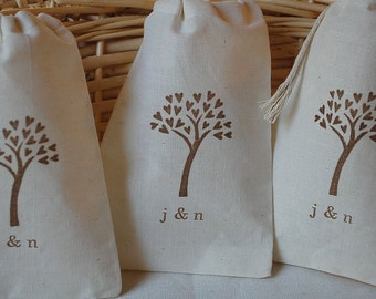 10 Tree of love with initials muslin cotton party favor bags 4x6 inch - your choice of ink color - Great for weddings, birthday parties, etc