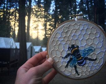 Embroidery Bee in Honeycomb