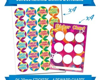 96 30mm Reward Stickers & 4 Charts, Children, Teacher, Stars and Balloons Theme.