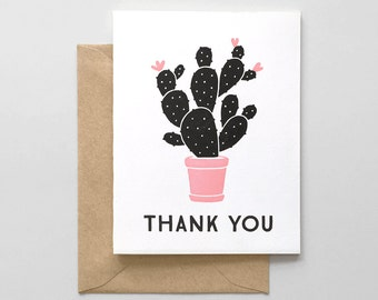 Cactus Letterpress Thank You Card