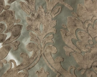 Upholstery Fabric - Radcliffe - Bark - Lurex Burnout Velvet Damask Upholstery, Drapery & Pillow Fabric by the Yard - Available in 23 Colors