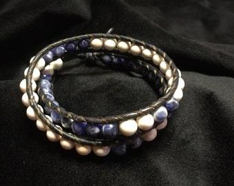 chan luu style stone leather wrap bracelet, bohemian beaded wrap bracelet, leather wrap bracelet, boho jewelery