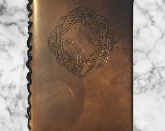 Aedan in Bison Brown - Hand Carved Celtic Leather Journal *Customizeable* - Best Seller