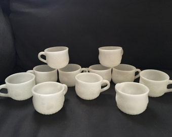 Set of 11 Milk Glass Cups
