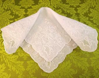 Mid Century / Hand Embroidered Handkerchief / White / Hand Embroidered Handkerchief / Wedding / Ladies Hankie/ New Old Stock/ Wedding Hankie