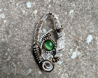 Cats Eye wrapped in brass and silver plate