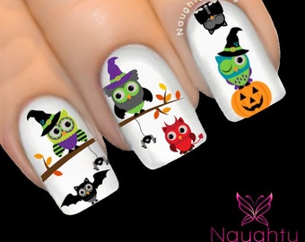 Halloween Owls in Costumes Nail Water Transfer Decal Sticker Art Tattoo H-110