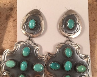 ON SALE Vintage Sterling Silver and Turquoise Navajo Dangle Earrings Signed
