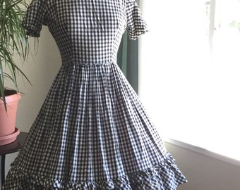 Black and white 1950s cotton gingham dress