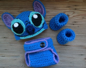 Crochet Stitch Newborn Baby Photo Prop Outfit from Disney's Lilo and Stitch Halloween Costume Accessory Boy Gift