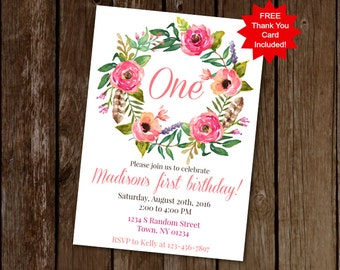 Floral Birthday Invitation, First Birthday Invitation, Pink Floral Invite, Printable Invitation