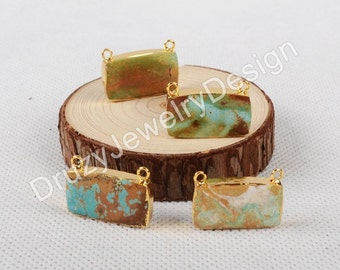 3PCS Or 5PCS,Rectangle Natural Turquoise Connector,Double Bails,Gemstone Connector,Turquoise Jewelry,Gold Plated,JD0617-G