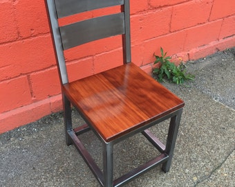 Theta Chair - Red Oak - Black Walnut - Made To Order - Blackened, Brushed Steel + Powder Coated Finishes - Adjustable Foot Levelers.