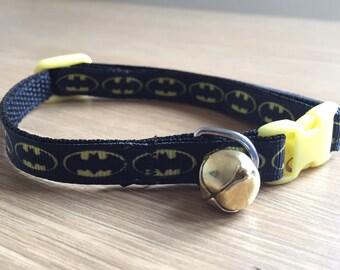 Black Batman Hero Inspired Cat/Kitten Collar (Quick Release)