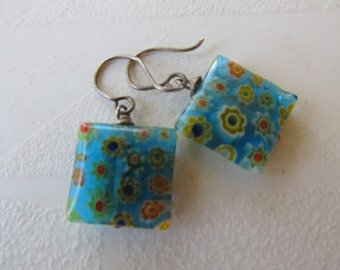 Vintage Milifiori Blue Glass Earrings