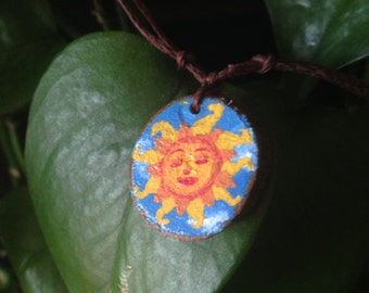 Painted Wooden Smiling Sun Pendant, Adjustable Necklace