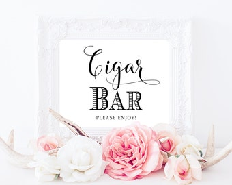 Wedding Sign, Cigar Bar Sign, PRINTABLE Art, Wedding Cigar Sign, Cigar Print, Wedding Print, Wedding DIY, Reception Decor
