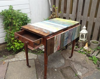 upcycled pembroke drop leaf table, reclaimed wood gloss top, led light  DELIVERY AVAILABLE