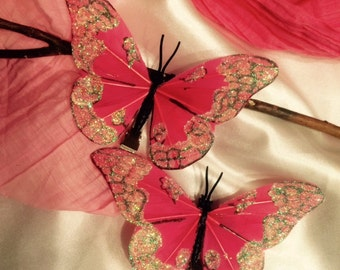 Sparkly coral butterfly hair clips - set of two