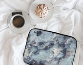 Electric Blue Marble Marble Print Marble Design Neoprene Laptop Sleeve MacBook Case Laptop Case Carry Case Laptop Bag  lspp044