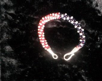 Patriotic Kumihimo Stars and Stipes Bracelet
