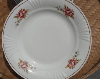 8 plates pink earthenware flowers french vintage