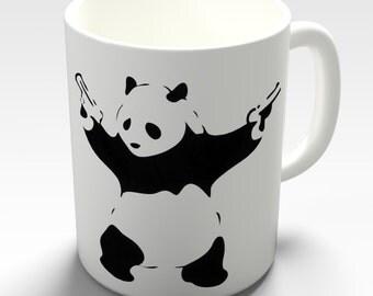 Banksy Panda With Guns Ceramic Funny Mug