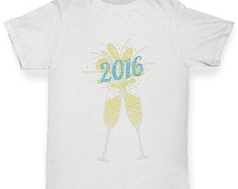 Boy's 2016 Champagne Celebration Rhinestone Diamante T-Shirt
