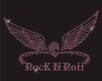 Rock And Roll Skull Wings Rhinestone Applique