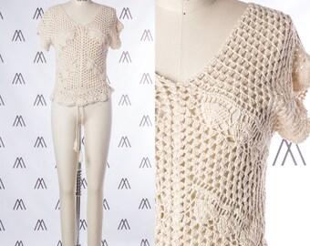 1970s Crochet Cap Sleeve Top with Drawstring Waist