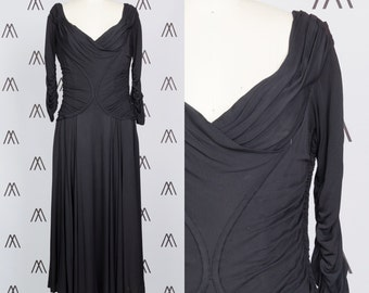 1950s Sadye's Black Chiffon Gown with Ruched Sleeves